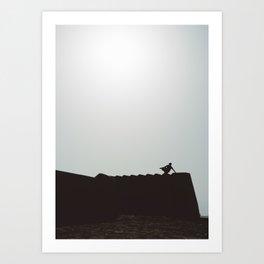 Boy Walking the Walls in Sur, Oman #2 Art Print