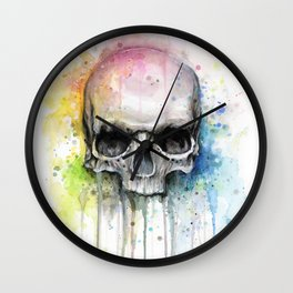 Skull Rainbow Watercolor Wall Clock