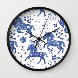 Delft Blue Horses Wall Clock