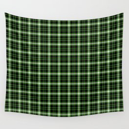 Plaid (lime green on black) Wall Tapestry