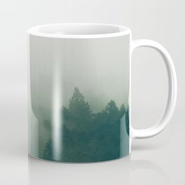 Misty Green Pine Forest Minimalist Landscape Photography Foggy Coffee Mug