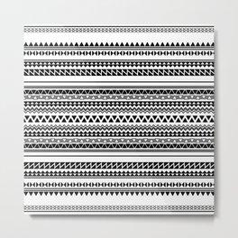 Tribal Pattern of Bamlunda in black and white Metal Print