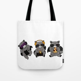 three wise raccoon Tote Bag
