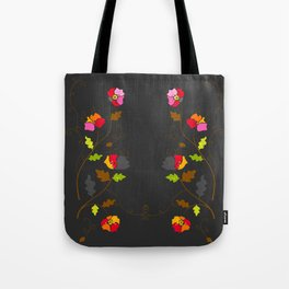 Floral Trellis on Dark Gray Tote Bag