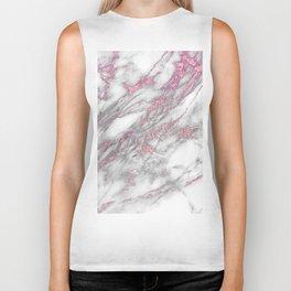 Gray & pink glitter faux messy marble texture Biker Tank