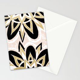 Modern black gold pink abstract floral pattern Stationery Cards