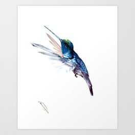 Hummingbird, Navy Blue Turquoise Artwork, minimalist bird art blue Art Print