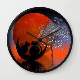mooncat's evening dream Wall Clock