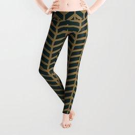 Green Velvet Golden Leggings