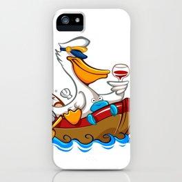 Cartoon pelican with captain's hat iPhone Case