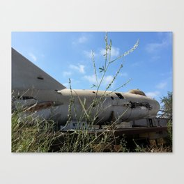 Chuck's MiG sits in a quiet scrapyard. Canvas Print