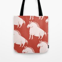 pony Tote Bags featuring Pony  by Marc Mif