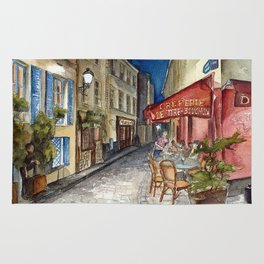 Postcards from Paris - Montmartre by Night: Le Tire-Bouchon Creperie Rug