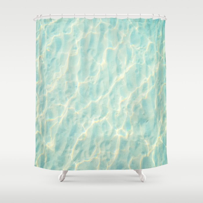 Transparent Clear Water Pattern With Sand Underneath Light Shimmering On Shower Curtain