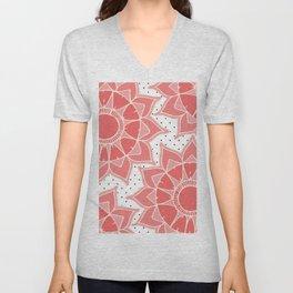 Coral ivory floral mandala black white polka dots Unisex V-Neck