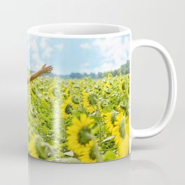 Woman Free in Sunflower Field Coffee Mug