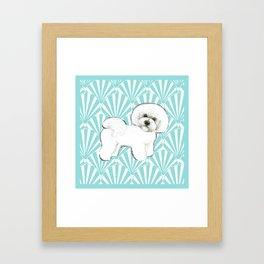 Bichon Frise at the beach / seashell blue Framed Art Print