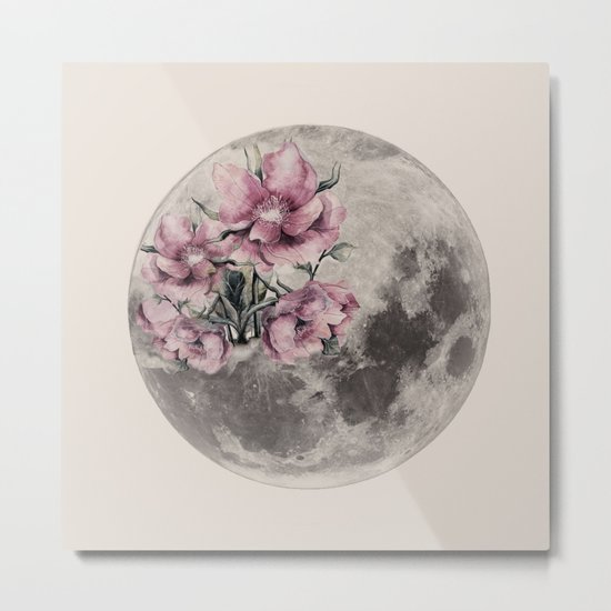 Moon in Bloom Metal Print