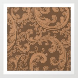 Retro Chic Swirl Butterum Art Print
