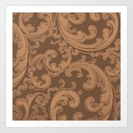 Retro Chic Swirl Butterum Art Print