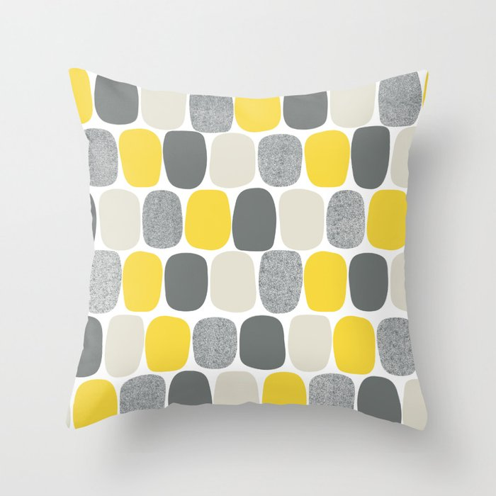Wonky Ovals in Yellow Throw Pillow