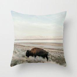 Bison of Antelope ISland Throw Pillow