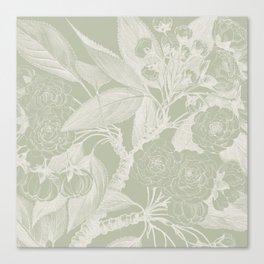 Floral, Rose, Vintage Print, Olive Green Canvas Print