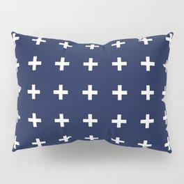 Navy Blue Swiss Cross Minimal Pillow Sham