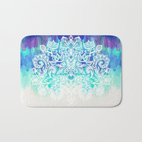 Indigo & Aqua Abstract - doodle painting Bath Mat