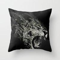 fierce Throw Pillows featuring Fierce by Ismael Sandiego