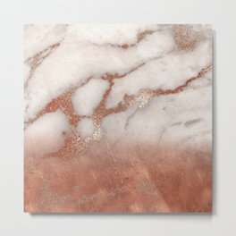 Shiny Copper Metal Foil Gold Ombre Bohemian Marble Metal Print