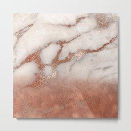 Shiny Copper Metal Foil Gold Ombre Bohemian Marble Metal Print