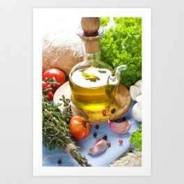 Bottle of Olive oil and condiments on blue napkin Art Print