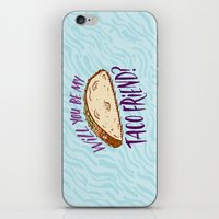 taco iPhone & iPod Skins featuring Taco Friend by Josh LaFayette
