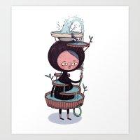 suit Art Prints featuring Bath Suit by Kensausage