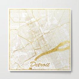 Detroit Map Gold Metal Print