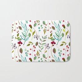 autumn winter berries watercolor pattern Bath Mat