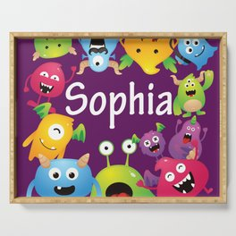 Cute & lovely monsters - Sophia (purple background) Serving Tray