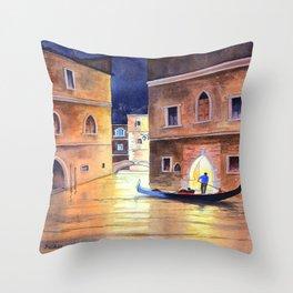Venice Italy Evening Gondola Ride Throw Pillow