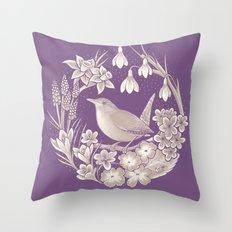 Spring Wren // Dark Throw Pillow