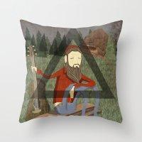 bon iver Throw Pillows featuring Bon Iver by Doug Crookston
