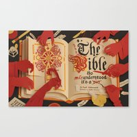 bible Canvas Prints featuring The Bible by Maëlle Doliveux