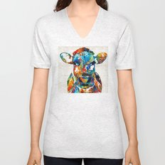 Colorful Cow Art - Mootown - By Sharon Cummings Unisex V-Neck