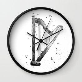 Harp, black and white Wall Clock