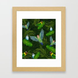 Lovebirds and tropical leafs Framed Art Print