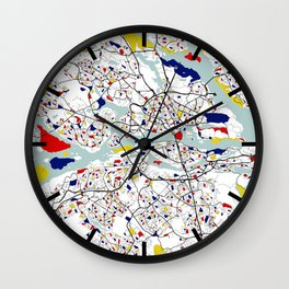Stockholm City Map of Sweden - Mondrian Wall Clock