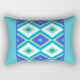 Turkish carpet yellow blue green. Patchwork mosaic oriental kilim rug Rectangular Pillow