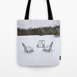 Snowy Meeting Tote Bag