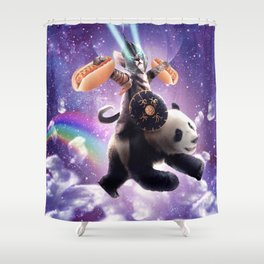 Lazer Warrior Space Cat Riding Panda With Hotdog Shower Curtain