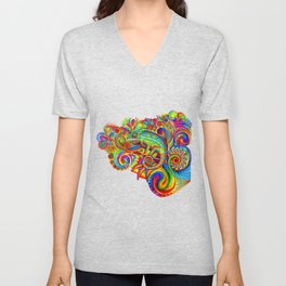 Psychedelizard Colorful Psychedelic Chameleon Rainbow Lizard Unisex V-Neck